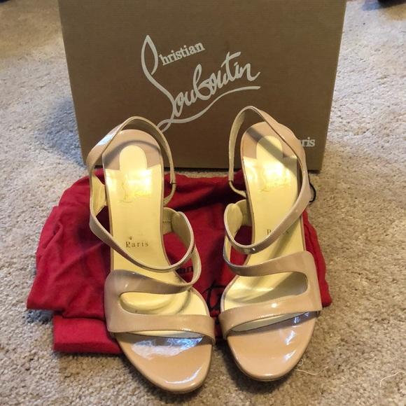93f1e24caff1 Christian Louboutin nude patent leather vavazou